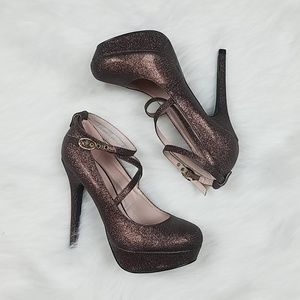 Brown Glitter Mary Jane Heels
